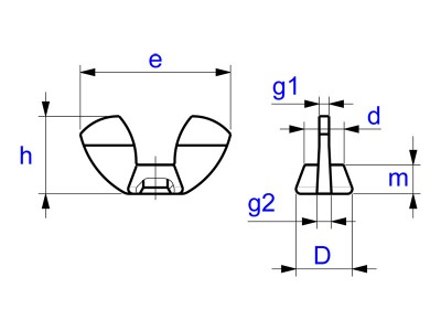 Wing Nuts German Form - Similar DIN 314 - Drawing