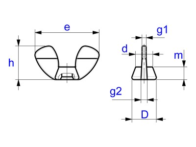 Wing Nuts German Form - Similar DIN 315 - Drawing