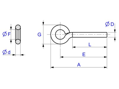 Eyebolts Bent Wire - Drawing