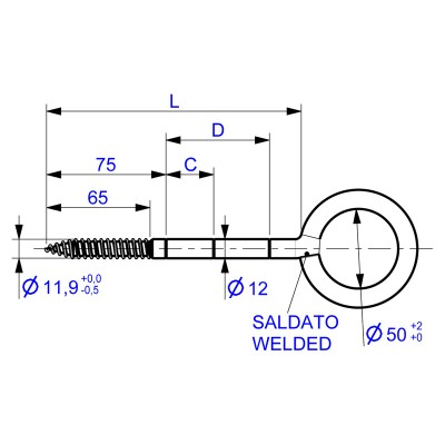 Eyebolts Welded Self Tapping for Scaffolding Ø50 - Drawing